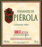 Vino Fernández de Piérola Tinto Crianza 2003 Etiqueta