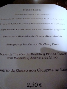 Restaurante El Recuerdo Carta Postres