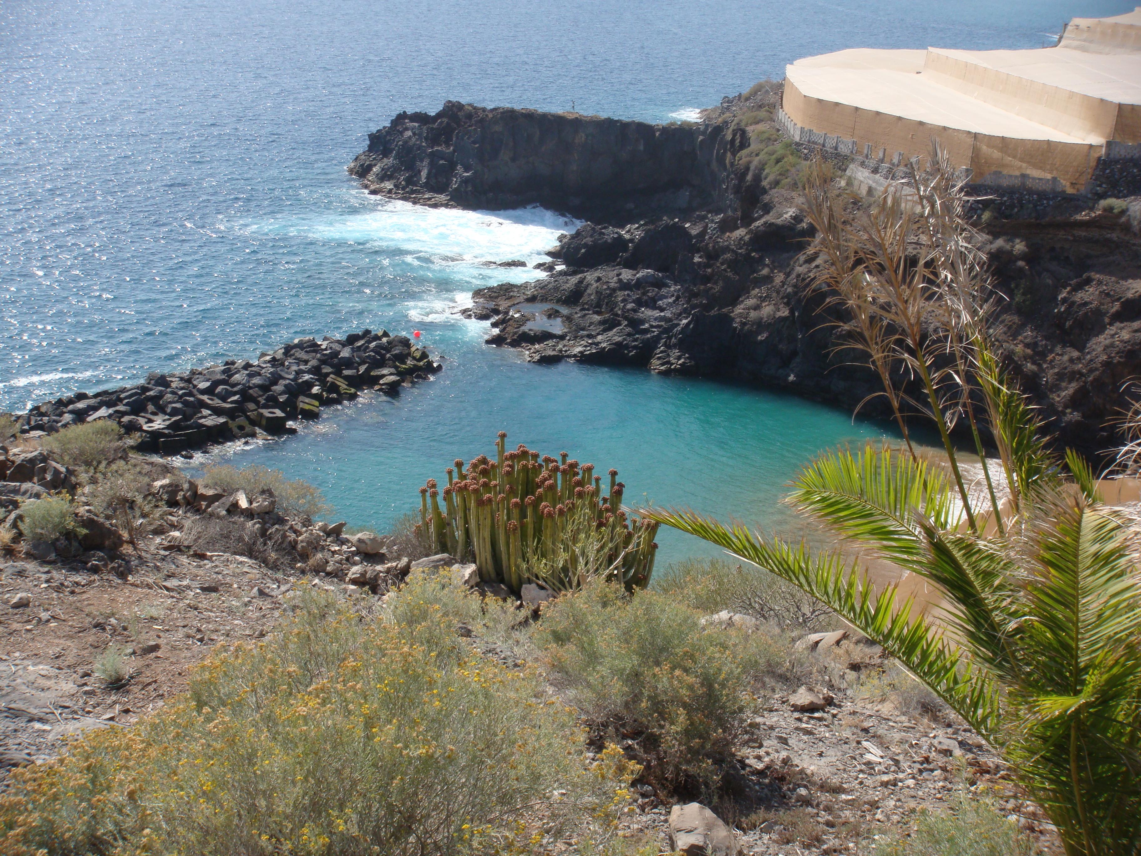 Vista aérea de la cala que incluye la playa