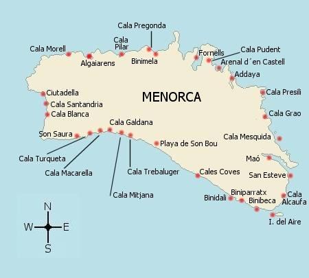 Mapa de la Isla de Menorca
