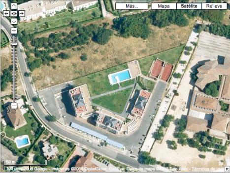 Vista aérea con Google Maps del hotel. Pincha para ir a Google Maps.