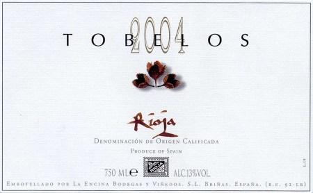 Vino Tobelos 2004 - Rioja Tinto - Etiqueta