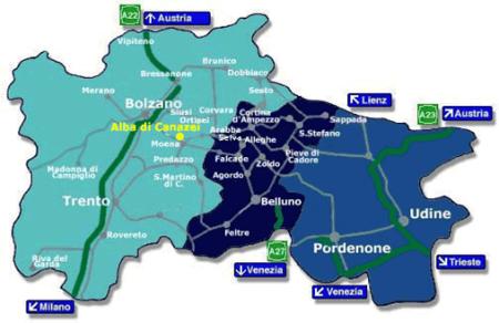 Mapa de los Dolomitas