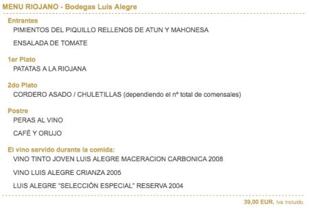 Menú Riojano - Restaurante Bodegas Luis Alegre